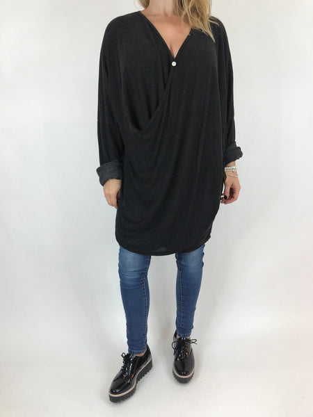 Lagenlook Katie Cross-over Button Jumper in Black. code 2093