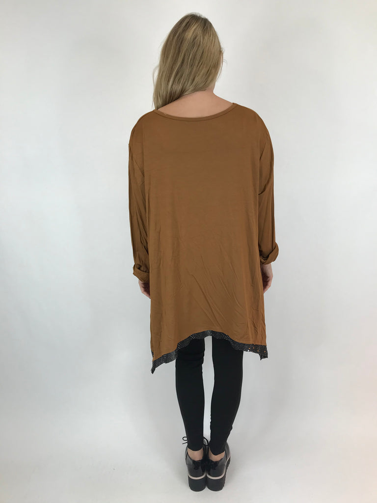 Lagenlook Frankie Sparkle Top in Rust. Code AB110