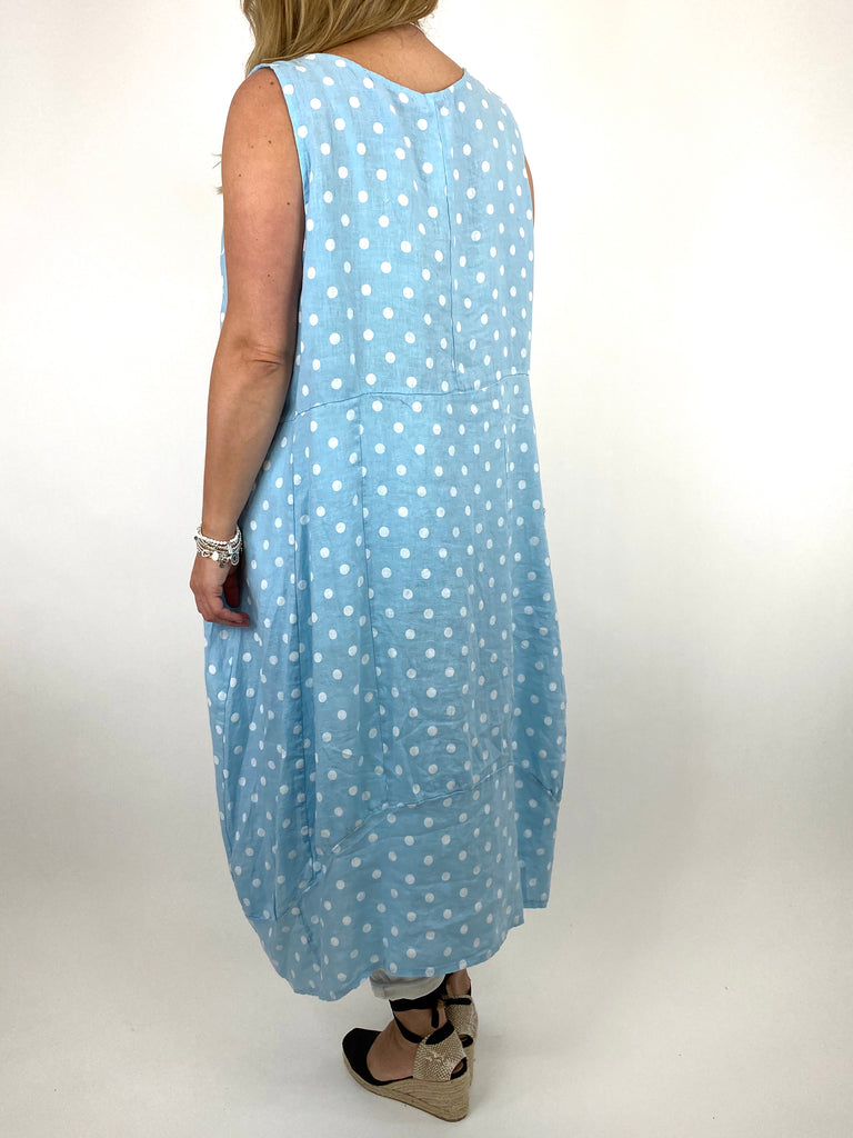 Lagenlook Taylor Linen Polka Dot Square neck tunic in Sky. code 8262PD - Lagenlook Clothing UK