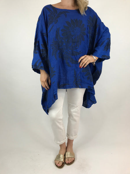 Lagenlook Linen Flower Poncho Top in Royal blue. code 18057