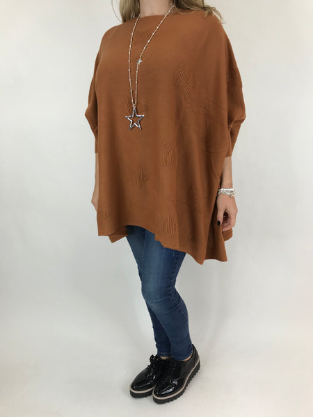 Lagenlook Calia Star Poncho Knit in Rust . code 47352