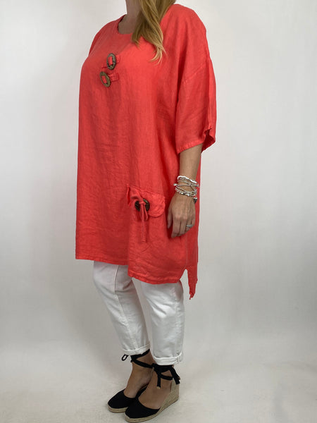Lagenlook Bea Linen Top In Coral. code 9782