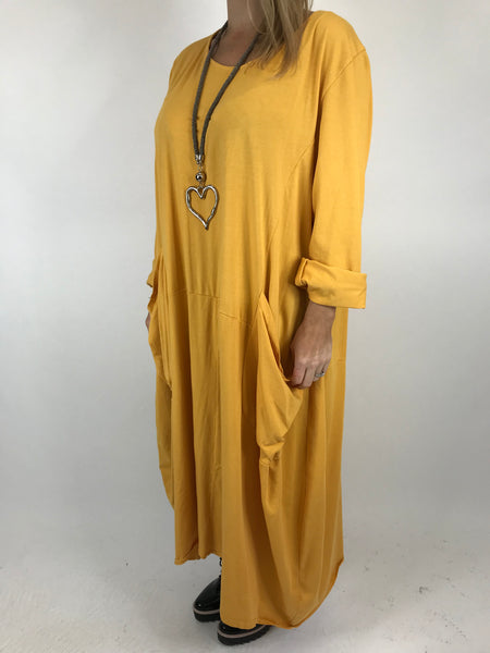 Lagenlook Josie Pocket Tunic in Mustard. code 9081