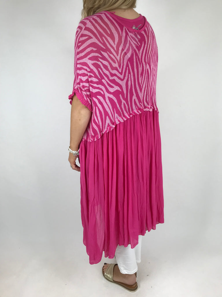 Lagenlook Animal Tank Dress in Fuchsia Pink. code 2564