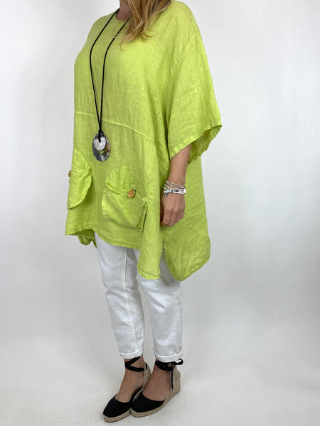 Lagenlook Hurley Pocket Linen top in Lime. code 2122