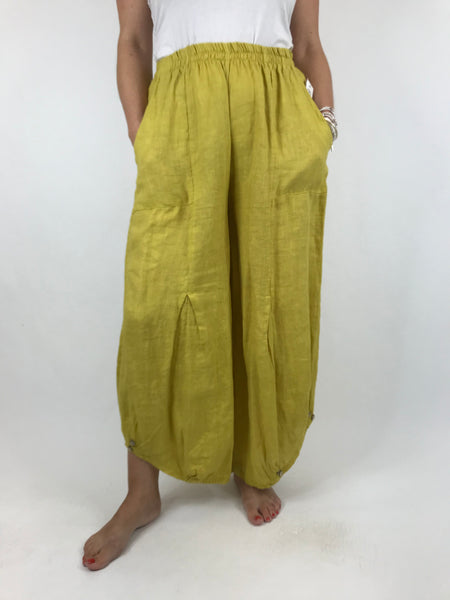 Lagenlook Linen Button Summer Trouser in Yellow. code 5672