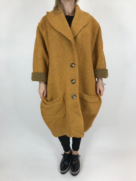 Lagenlook Boho Wool Coat in Mustard. code 9109