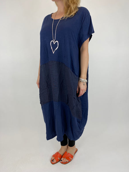 Lagenlook Layla Linen Panel Tee Tunic in Navy. code 90301