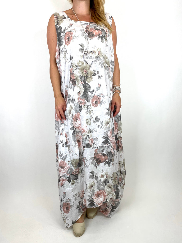 Lagenlook Emily-2 Plus Size Linen Flower Print Dress in White.code 8262 - Lagenlook Clothing UK