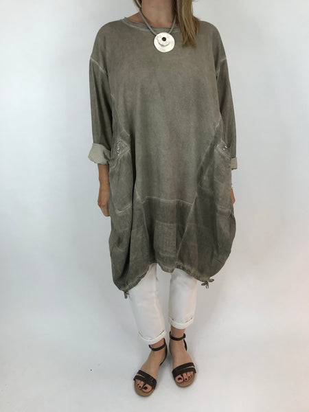 Lagenlook Nellie Quirky Acid Wash Sweatshirt  in Mocha Wash. code 5644