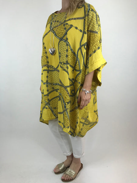 Lagenlook Chain Print Poncho Top in Yellow. code 7288
