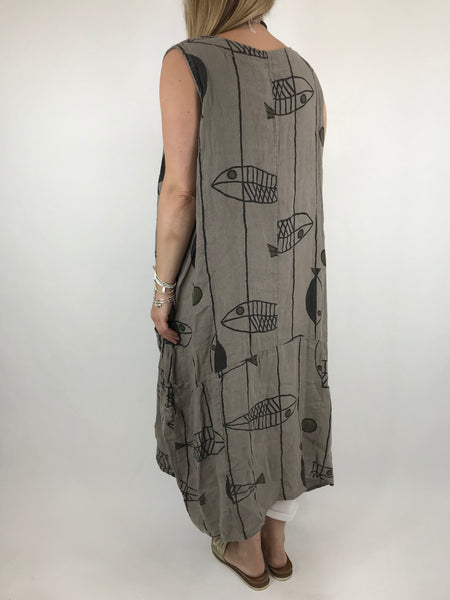 Lagenlook Jorda  Linen Quirky Sleeveless Patterned Tunic in Mocha. code 18340