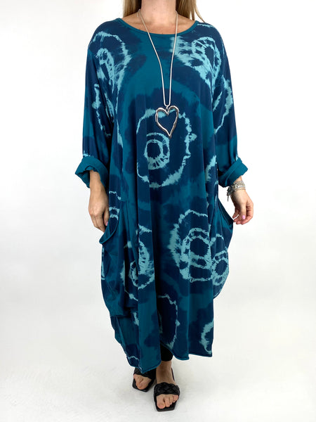 Lagenlook Celeste Tie-dye Side Pocket Tunic in Teal .code 9904