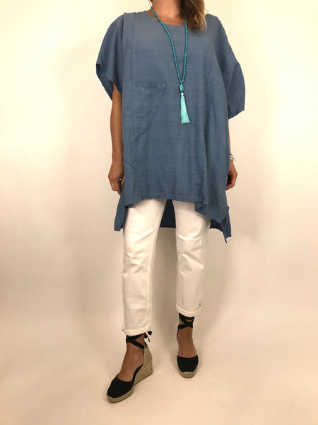 Lagenlook Chloe Pocket Front Top in Denim. code 6372