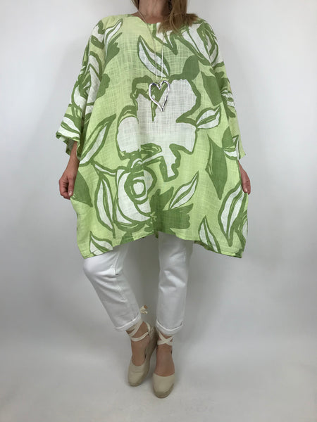 Lagenlook Helena Magnified Flower Top in Lime. code 91006