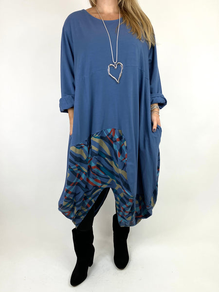 Lagenlook Wave Curve Hem Tunic in Denim. code 9977 - Lagenlook Clothing UK