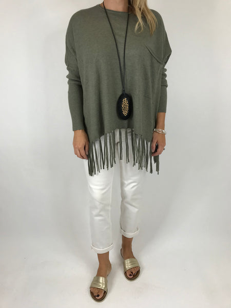 Lagenlook Tibi Tassel Knit Jumper in Khaki.  Code 5373