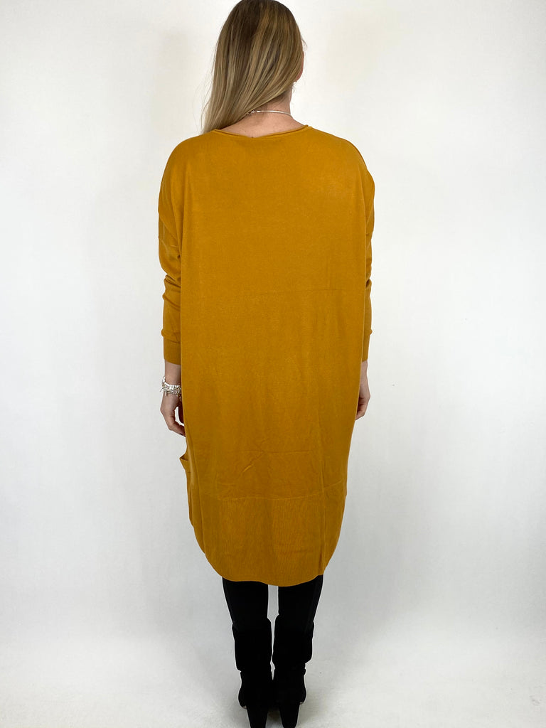 Lagenlook Patsy Button tab detail jumper in Mustard. code 2566
