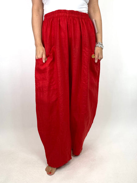 Lagenlook Eliza Wide leg Linen Trousers in Red. code 6503