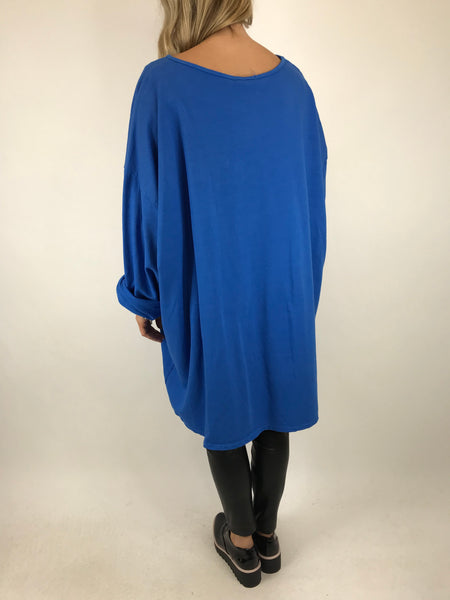 Lagenlook Solo Star Print Sweatshirt Top Tunic in Royal. Code 9482 - Lagenlook Clothing UK