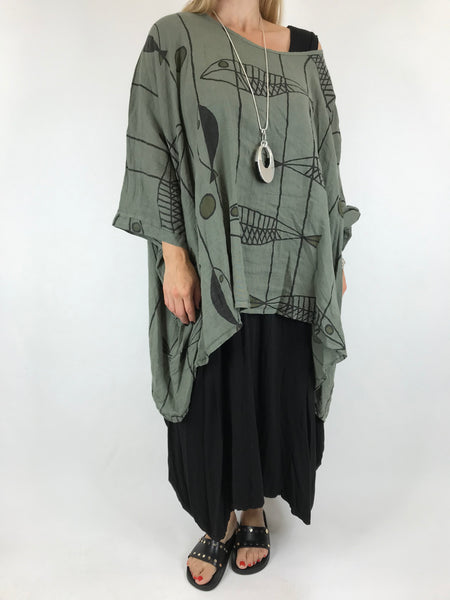 Lagenlook Linen Quirky Print Poncho Top in Khaki. Code 18057