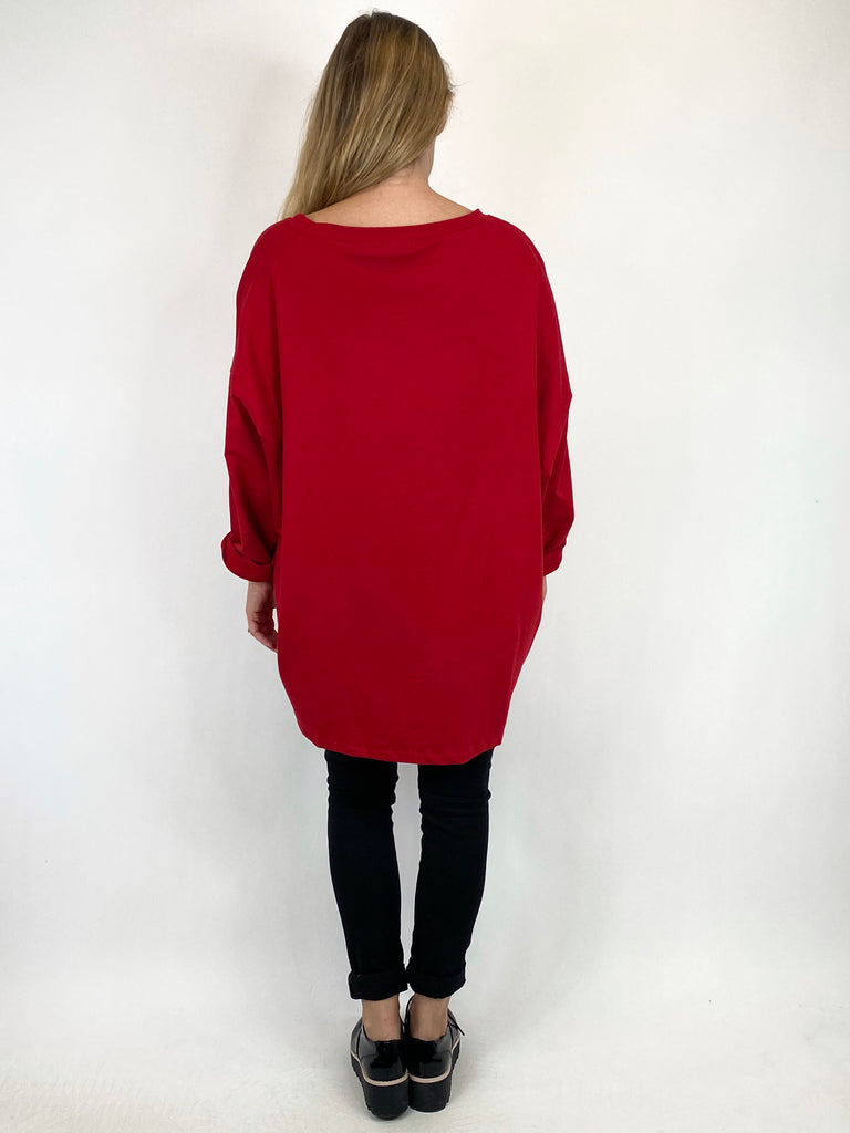 Lagenlook Star Zip Sweatshirt in Red.code 91145 - Lagenlook Clothing UK