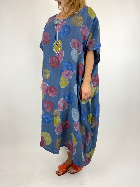 Lagenlook Wimborne Paint Dot Tunic in Denim. code 7688