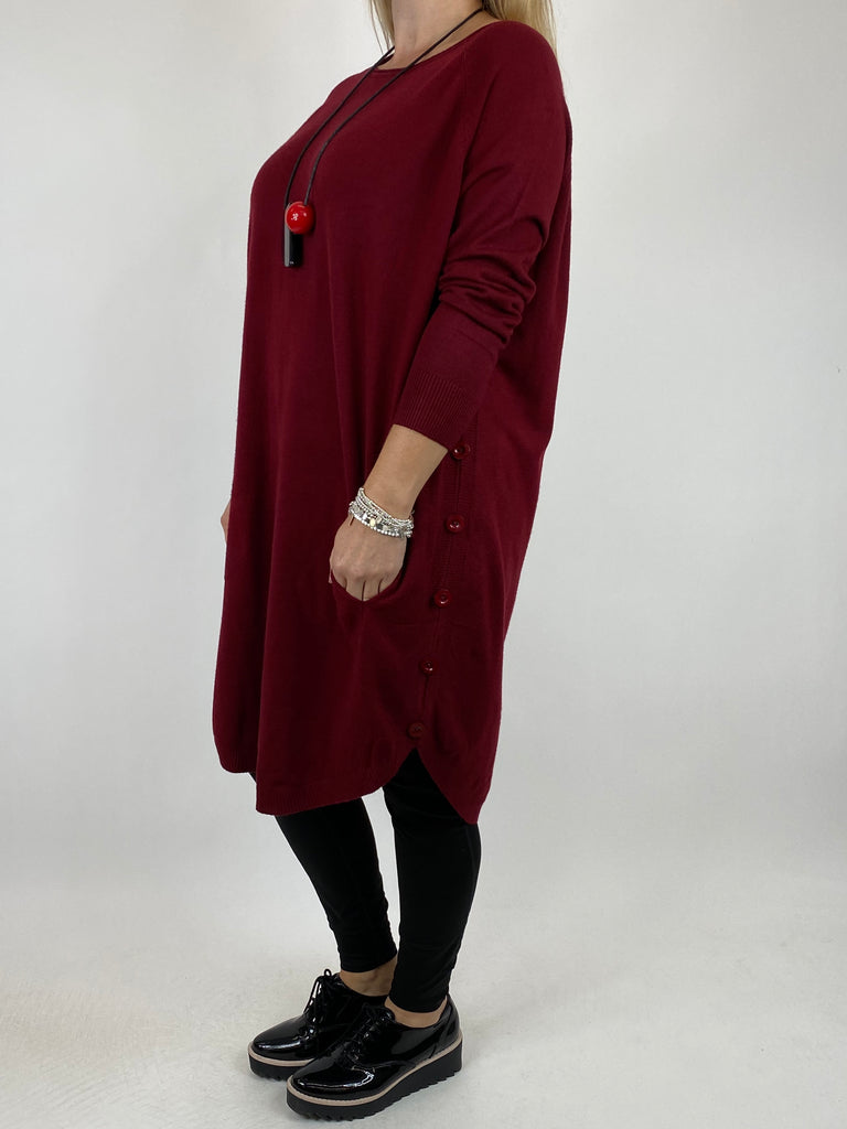 Lagenlook Amelie Button Side Jumper in Wine. code 2560 - Lagenlook Clothing UK