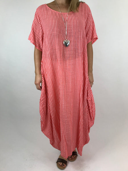 Lagenlook Maria Pinstripe Summer Tunic Dress in Coral. code 5769