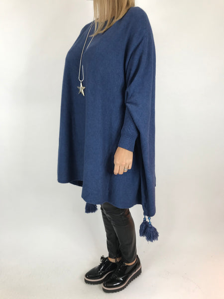 Lagenlook Ella Tassel Jumper in Denim. code 2700 - Lagenlook Clothing UK