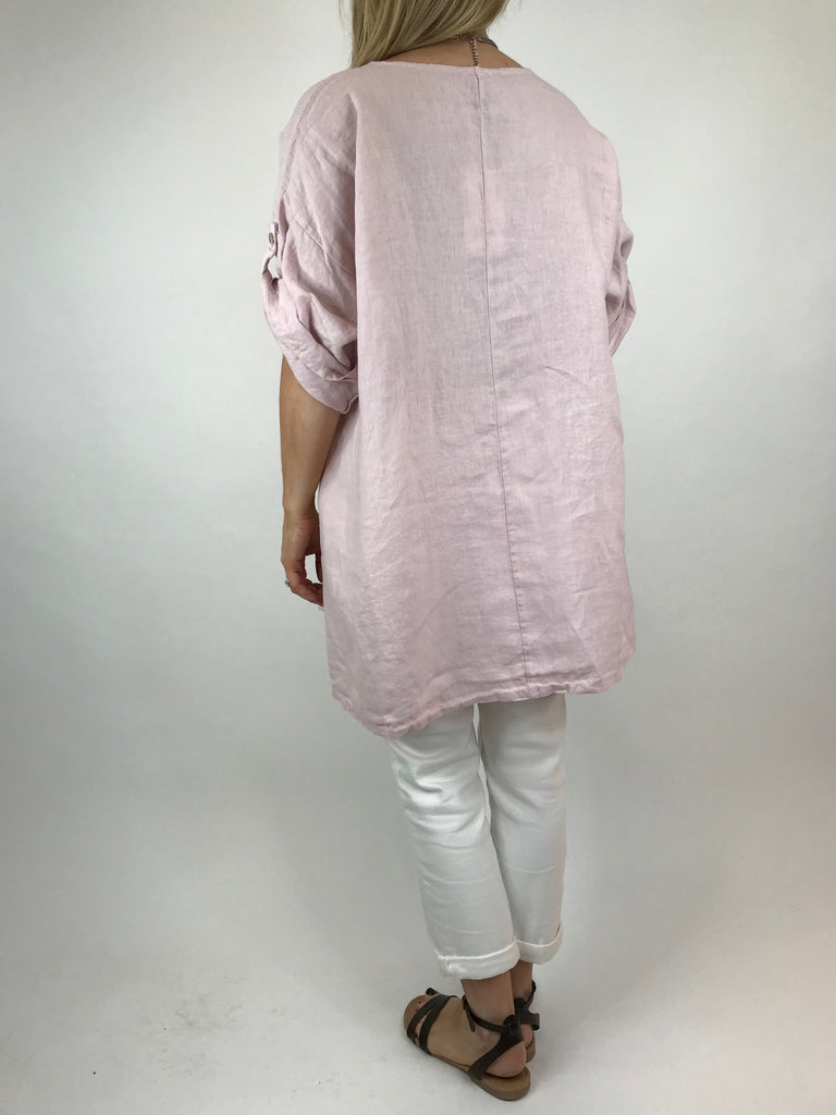 Lagenlook Lydia button Top in Pale Pink. code 5711