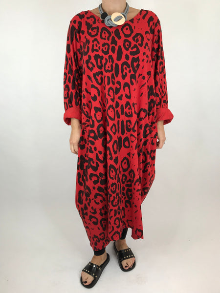 Lagenlook Made In Italy Cheetah Print Tunic in Red. code 9806 - Lagenlook Clothing UK