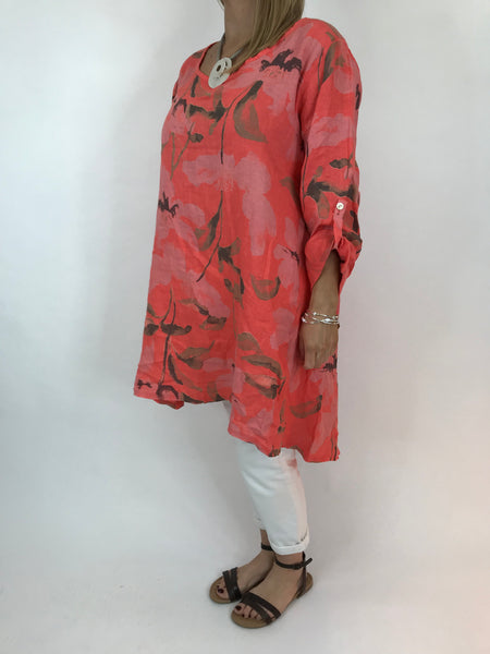 Lagenlook Flower Button back tunic in Coral. Code 5641