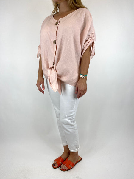 Lagenlook Wexford Button Linen Tie top Jacket in Pink. code 1279