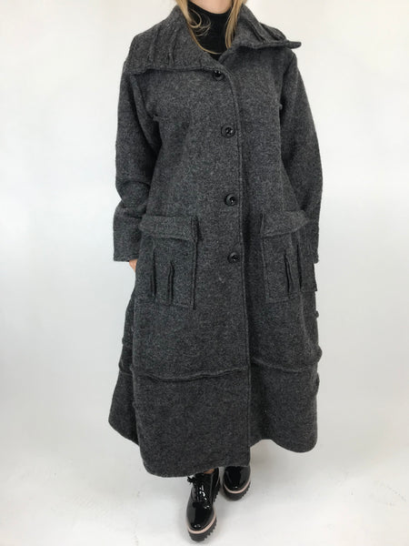 a6d16129329 Lagenlook Made In Italy Collared Wool Coat in Charcoal. code 5527 ...