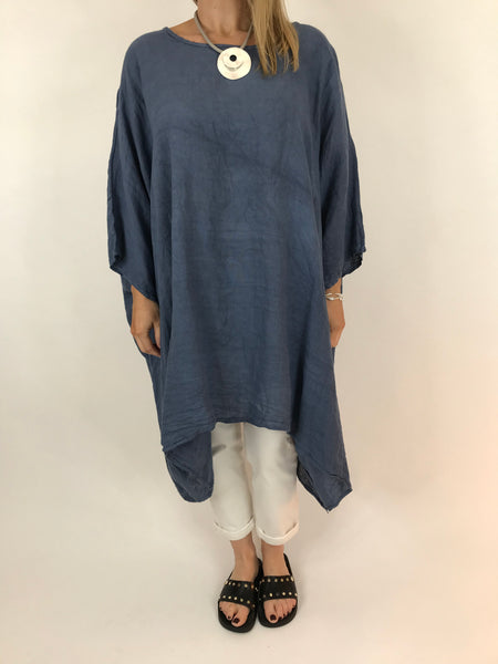 Lagenlook Vera Linen Poncho Top in Denim .code 8956