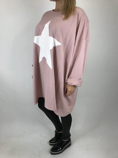 Lagenlook Solo Star Print Sweatshirt Top Tunic in Pale Pink. Code 9482