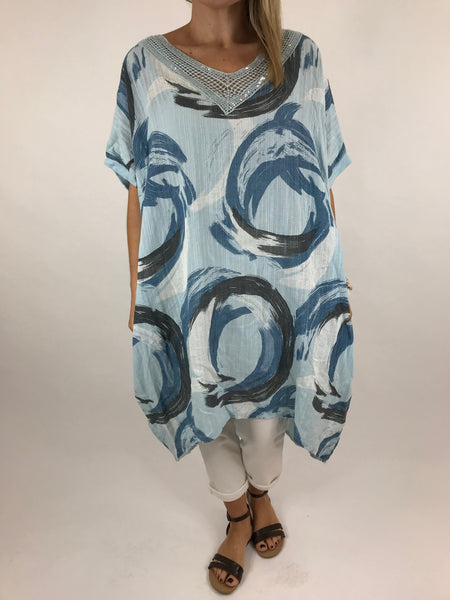 Lagenlook Chloe Swirl Print Summer Tunic in Light Blue.code 5709