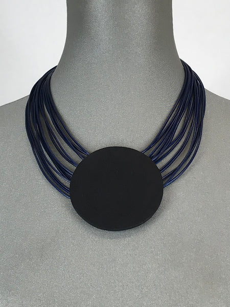 Lagenlook Leather Disc Short Necklace in Navy. Code L10