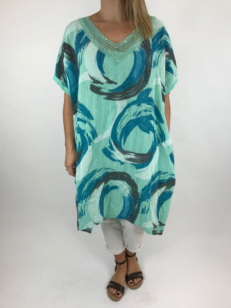 Lagenlook Chloe Swirl Print Summer Tunic in Mint. code 5709