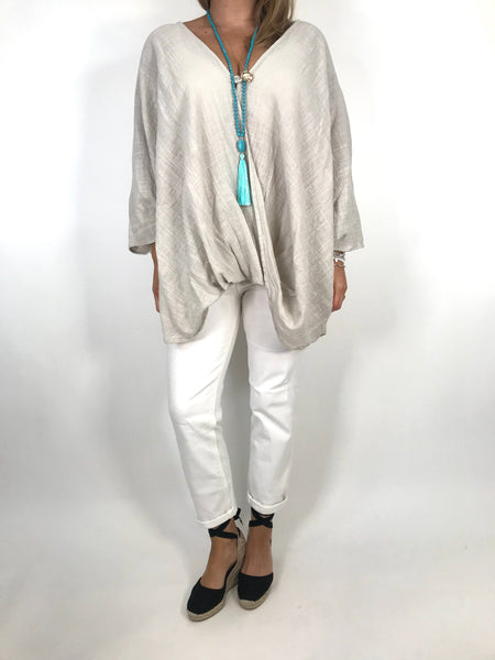 Lagenlook Miller Cotton Mix Wrap Top in Cream. code 9100 - Lagenlook Clothing UK