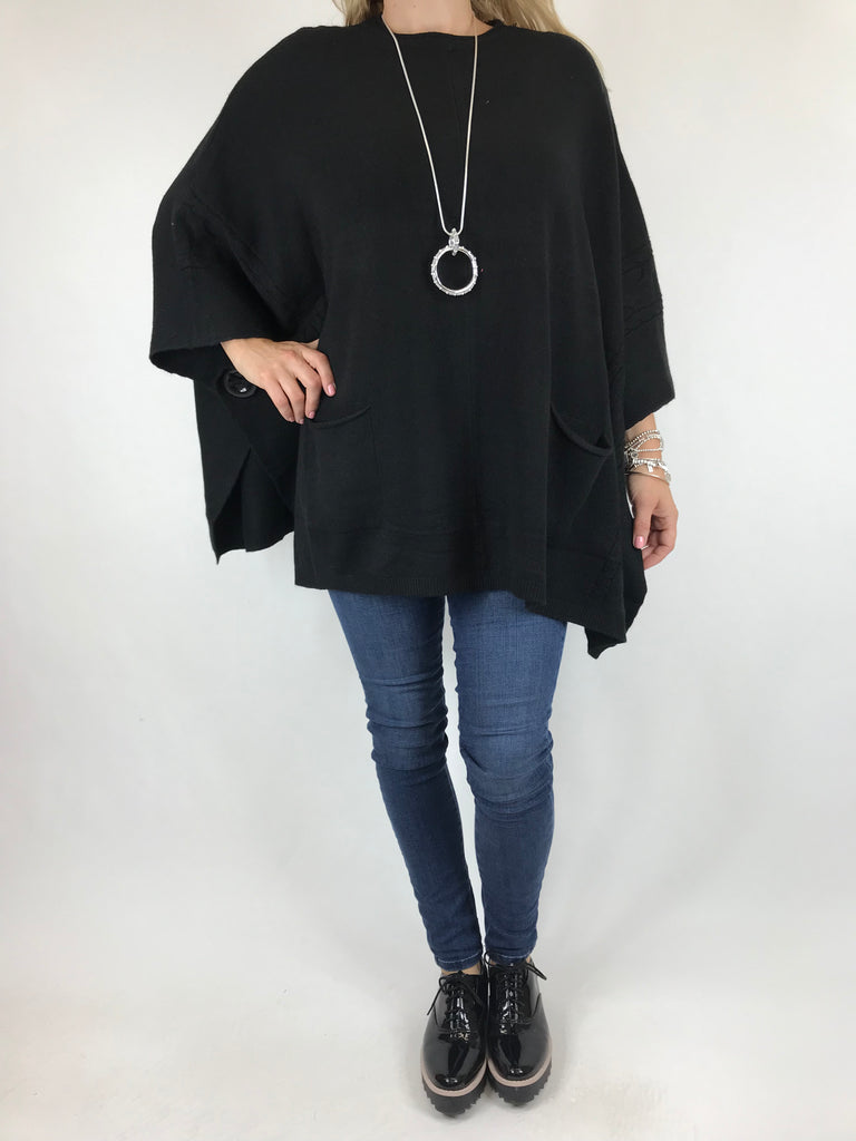 Lagenlook Button Side Poncho Jumper in Black. code 5922