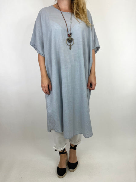 Lagenlook Anto Summer Cotton Tunic in Pale Grey. code 9002