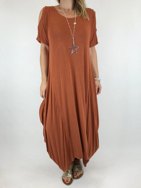 Lagenlook Long Plain Cold shoulder Tunic in Rust. code 1026