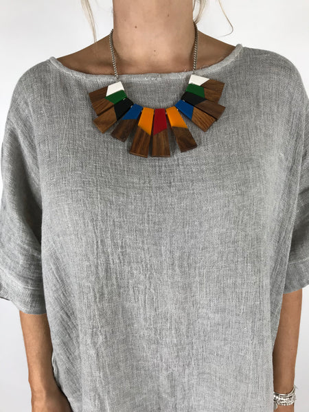 Lagenlook Resin & Wood Multi -Coloured Fan Necklace. code LB1700
