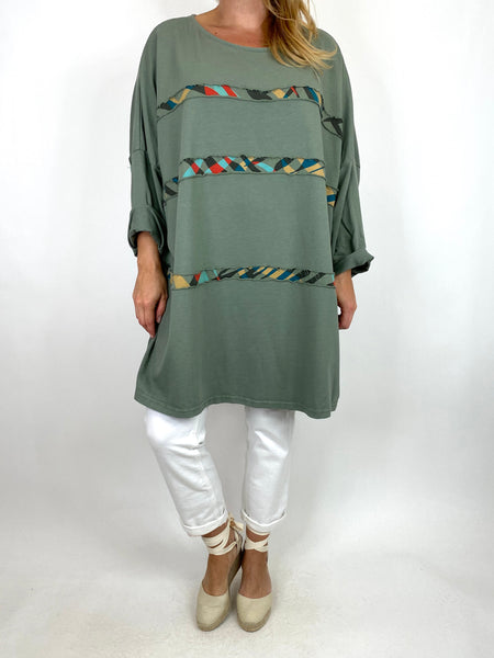 Lagenlook Banks Stripe sweatshirt Top in Khaki. code 10317