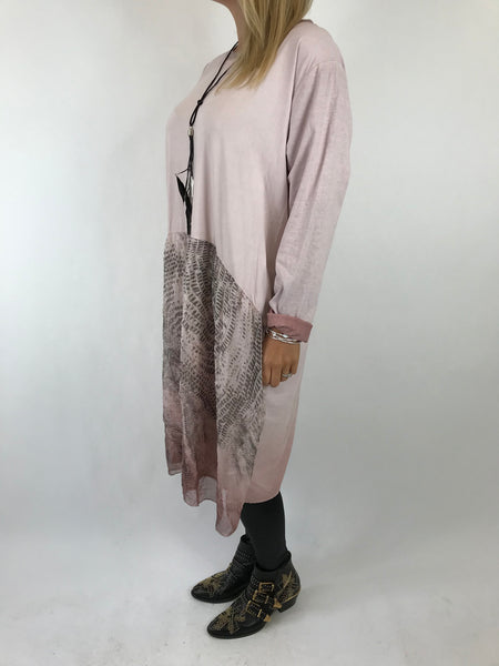 Lagenlook Demi Feather Necklace Tunic In Pink. code 5440