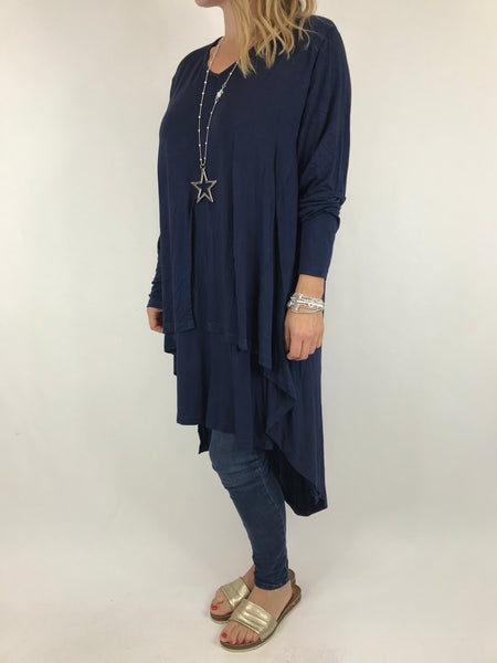 Lagenlook Erin Jersey V-Neck in Navy. code 5972