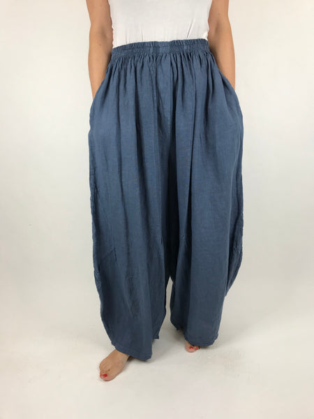 Lagenlook Penny wide Leg Linen Trousers in Denim Blue. code 9030