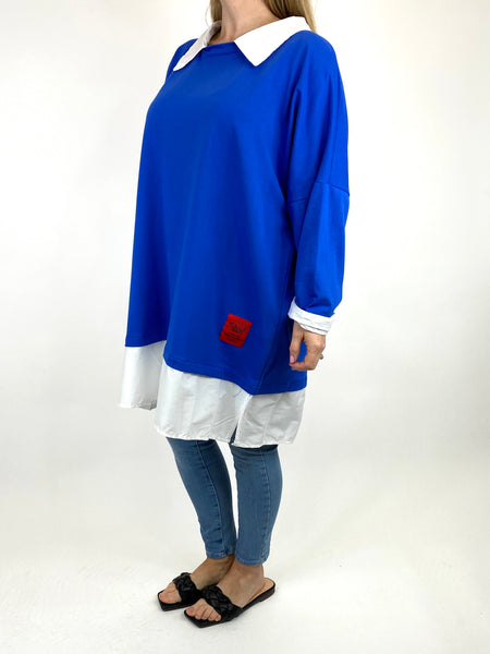 Lagenlook Cassie Cotton Shirt Top in Royal Blue. code 91205 - Lagenlook Clothing UK